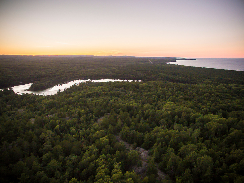 Aerial drone view of Harlow Lake area, Marquette, Michigan.