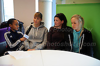 Jeff Thomas Photography -  www.jaypics.photoshelter.com - <br /> e-mail swansea1001@hotmail.co.uk -<br /> Mob: 07837 386244 -<br /> <br /> UEFA Women's Champion's League Final - 100 days to go - 21st February 2017 in Cardiff - 3 Wales International Women's team members being interviewed