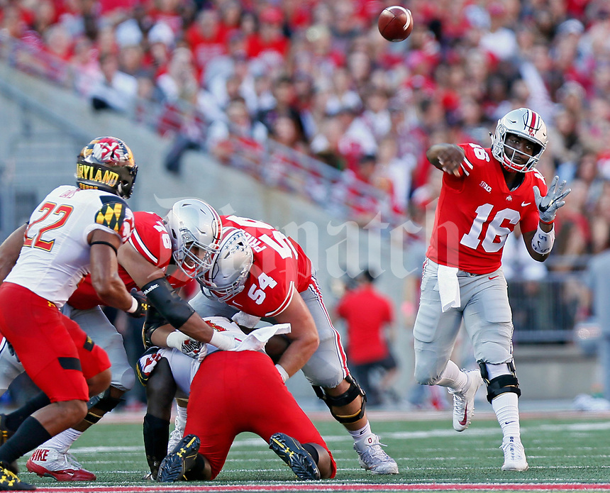 Ohio State Buckeyes quarterback J.T. Barrett (16) throws a pass against Maryland Terrapins during the 1st quarter at Ohio Stadium in Columbus, Ohio on October 7, 2017.  [Kyle Robertson/Dispatch]