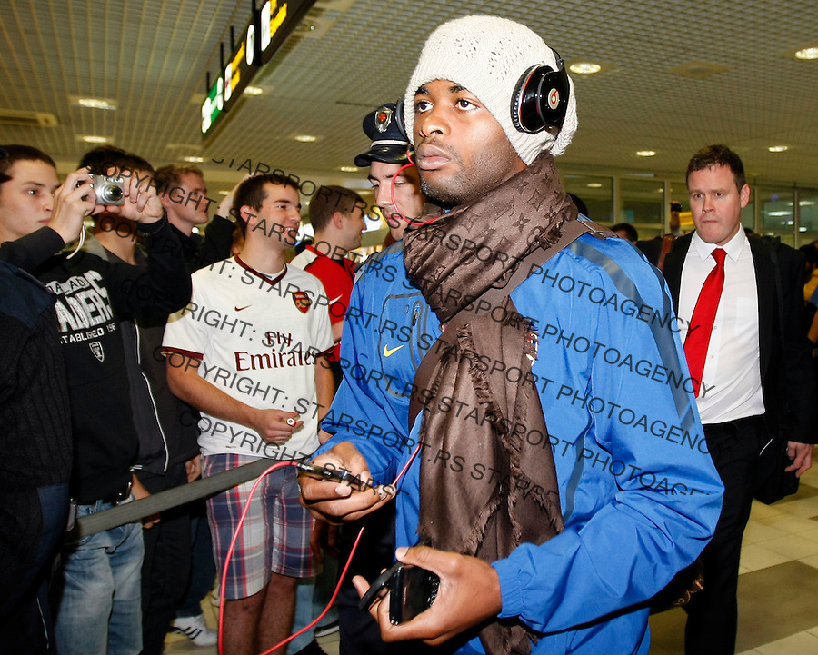 Arsenal's player Alex Song arrived at Belgrade airport, prior their UEFA Champions league match in group H against FC Partizan Belgrade, Serbia, Monday, Sept. 27, 2010.  (Srdjan Stevanovic/Starsportphoto.com)