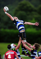David Denton of Bath Rugby wins the ball at a lineout. Pre-season friendly match, between the Scarlets and Bath Rugby on August 20, 2016 at Eirias Park in Colwyn Bay, Wales. Photo by: Patrick Khachfe / Onside Images