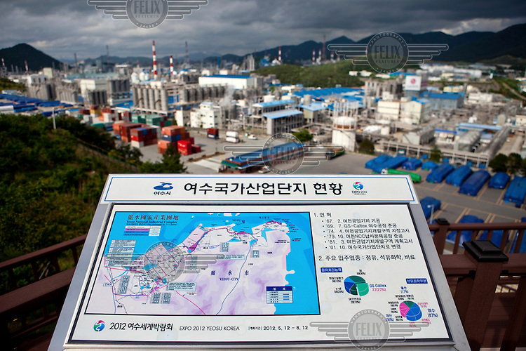 The Yeosu National Industrial Complex, built in 1967, is the country's largest heavy chemical industrial complex. It accommodates over 120 oil refining, fertiliser, and petrochemical companies, accounting for 26% of domestic oil refining and 50% of domestic ethylene production. The map has logo for Expo 2012 that is to be held in Yeosu with the theme 'The Living Ocean and Coast'.