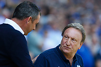 Reading manager Paul Clement shakes hands with Cardiff City manager Neil Warnock prior to kick off of the Sky Bet Championship match between Cardiff City and Reading at The Cardiff City Stadium, Wales, UK. Sunday 06 May 2018