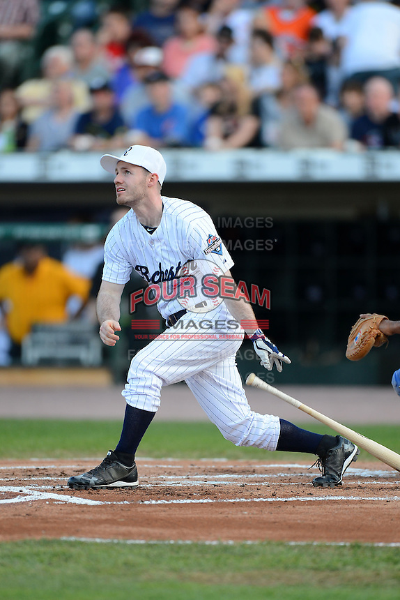 Rochester native Jesse Perotti hits a home run off Trevor Hoffman #51 (not pictured) during the MLB Pepsi Max Field of Dreams game on May 18, 2013 at Frontier Field in Rochester, New York.  (Mike Janes/Four Seam Images)