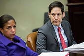 In this file photo from November 18, 2014, from left, Susan Rice, National Security Advisor, and Tom Frieden, Director of the Centers for Disease Control and Prevention (CDC), look on as United States  President Barack Obama speaks to the media during a meeting with his national security and public health teams concerning the government's Ebola response, in the Roosevelt Room of the White House in Washington, DC.  President Obama called on Congress to approve $6.2 billion in emergency spending to fight Ebola in West Africa.  Frieden was arrested in New York, New York on August 24, 2018 as the result of allegations of forcible touching, sex abuse and harassment of a woman in October 2017. <br /> Credit: Drew Angerer / Pool via CNP