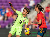 ORLANDO, FL - MARCH 05: Ayaka Yamashita #18 of Japan throws the ball out during a game between Spain and Japan at Exploria Stadium on March 05, 2020 in Orlando, Florida.