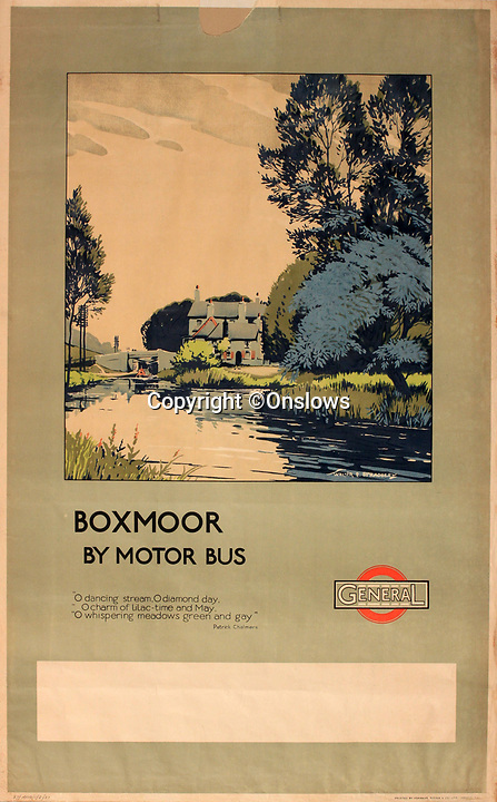BNPS.co.uk (01202 558833)<br /> Pic: Onslows/BNPS<br /> <br /> Boxmoor -  'Motor Bus' travel was encouraged to the then leafy town's and villages around the capital.<br /> <br /> A fascinating treasure trove of old London posters are expected to sell at auction for £20,000 after being discovered in a garage.<br /> <br /> They were produced circa 1920 by the Underground Electric Railway Company to promote the capital's underground, tram and bus networks.<br /> <br /> There is also a charming selection of 'London Characters' posters showing different walks of life including a news boy, a zookeeper, a flower woman and a Covent Garden porter.<br /> <br /> The collection of 35 posters were found rolled up in a garage lock up in Kensington, west London, while it was being cleared out.<br /> <br /> The vendor, a lady in her 80s, inherited them many years ago from her late aunt who was an artist in the 1920s and had her own studio.