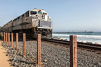 Metrolink runs alongside the beach at San Clemente, CA. Images are available for editorial licensing, either directly or through Gallery Stock. Some images are available for commercial licensing. Please contact lisa@lisacorsonphotography.com for more information.