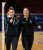 04.08.2015 Silver Ferns Kayla Cullen and Phoenix Karaka during Silver Ferns training ahead of the 2015 Netball World Champs at All Phones Arena in Sydney, Australia. Mandatory Photo Credit ©Michael Bradley.