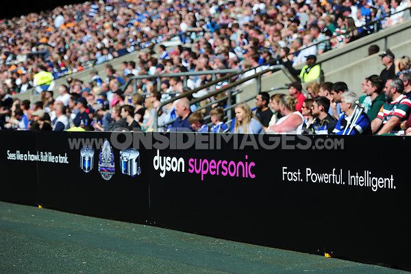 A general view of Dyson branding on the side of the pitch. The Clash, Aviva Premiership match, between Bath Rugby and Leicester Tigers on April 8, 2017 at Twickenham Stadium in London, England. Photo by: Patrick Khachfe / Onside Images