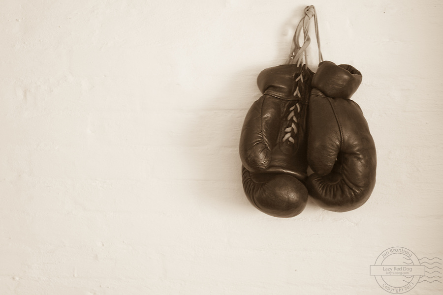 Old boxing gloves, hanging on a wall. These gloves used to belong to the danish boxer Tom Bogs. Sepia style