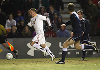 Casey Townsend #11 of the University of Maryland races away from Drew Cost #8 of Penn State during an NCAA 3rd. round match at Ludwig Field, University of Maryland, College Park, Maryland on November 28 2010.Maryland won 1-0.