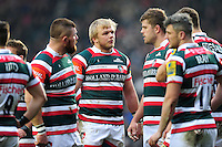 Luke Hamilton of Leicester Tigers speaks to team-mates during a break in play. Aviva Premiership match, between Leicester Tigers and Gloucester Rugby on February 11, 2017 at Welford Road in Leicester, England. Photo by: Patrick Khachfe / JMP