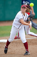 STANFORD, CA - April 2, 2011: Michelle Prong of Stanford softball throws to first after fielding a grounder during Stanford's game against Arizona at Smith Family Stadium. Stanford lost 6-1.