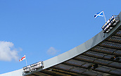 June 10th 2017, Hampden park, Glasgow, Scotland; World Cup 2018 Qualifying football, Scotland versus England; England and Scotland flags fly over Hampden