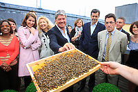 "May 6, 2009, inauguration of the hive on the terrace of the headquarters of Louis Vuitton, near the Pont Neuf bridge, in the presence of Yves Carcelle, CEO of Louis Vuitton. According to Nicolas Géant, originator of this step, ""the Sustainable Develpoment services of the group LVMH was seduced by the project. They want to make it a showcase, in-house at first. My idea is to work with companies committed to sustainable development. I remain the owner of the hives and I offer to mount a project based on bees""."