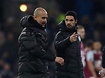 Josep Guardiola manager of Manchester City and Mikel Arteta during the Premier League match at Turf Moor, Burnley. Picture date: 3rd December 2019. Picture credit should read: Simon Bellis/Sportimage