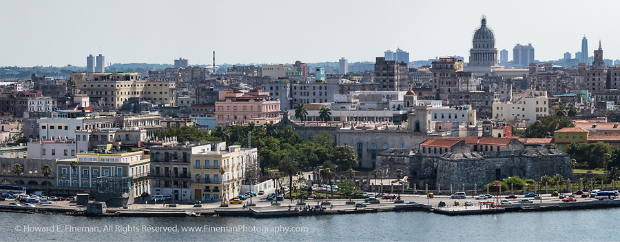Part of Old Havana viewed from El Cristo statue across the harbor