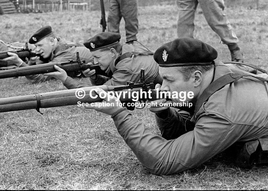 Members of the UDR, Ulster Defence Regiment, undergoing weapons training and shooting practice at Kinnegar Army Camp, Holywood, Co Down, N Ireland, March 1970. 197003000120b<br /> <br /> Copyright Image from Victor Patterson, 54 Dorchester Park, Belfast, UK, BT9 6RJ<br /> <br /> t1: +44 28 9066 1296<br /> t2: +44 28 9002 2446<br /> m: +44 7802 353836<br /> <br /> e1: victorpatterson@me.com<br /> e2: victorpatterson@gmail.com<br /> <br /> IMPORTANT: My Terms and Conditions of Business are at www.victorpatterson.com