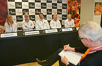 The Netherlands, Den Bosch, 16.04.2014. Fed Cup Netherlands-Japan, Press-conference Netherlands team, l.t.r.: Arantxa Rus, Richel Hogenkamp, captain Paul Haarhuis, Kiki Bertens, and Michaella Krajicek.<br /> Photo:Tennisimages/Henk Koster