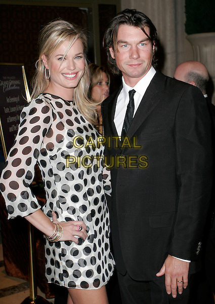 "REBECCA ROMIJN & JERRY O'CONNELL.""The Palazzo Las Vegas"" Hotel Casino - Grand Opening at Barneys New York and The Shoppes at The Palazzo,  Las Vegas, Nevada, USA, 17 January 2008..half length black and white polka dot print dress hand on hip.CAP/ADM/MJT.©AdMedia/Capital Pictures. *** Local Caption *** ."