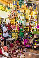 Hindu Worshipers Attending Navarathri Celebrations, Sri Maha Mariamman Temple, George Town, Penang, Malaysia.