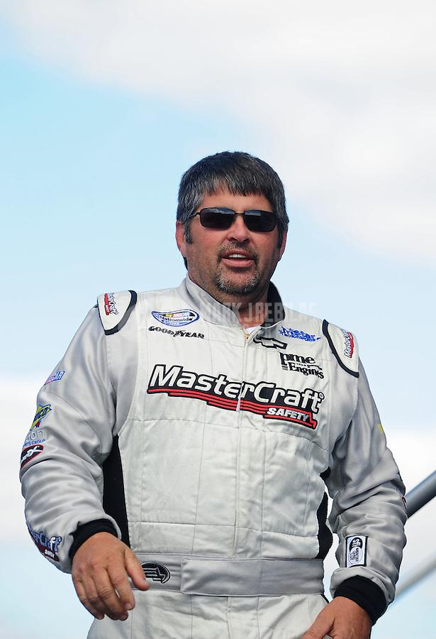 Oct. 2, 2010; Kansas City, KS, USA; NASCAR Nationwide Series driver Jeff Green during the Kansas Lottery 300 at Kansas Speedway. Mandatory Credit: Mark J. Rebilas-
