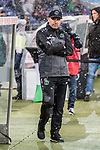 10.03.2019, HDI Arena, Hannover, GER, 1.FBL, Hannover 96 vs Bayer 04 Leverkusen<br /> <br /> DFL REGULATIONS PROHIBIT ANY USE OF PHOTOGRAPHS AS IMAGE SEQUENCES AND/OR QUASI-VIDEO.<br /> <br /> im Bild / picture shows<br /> Thomas Doll (Trainer Hannover 96) vor Trainerbank im Schneefall, <br /> <br /> Foto &copy; nordphoto / Ewert