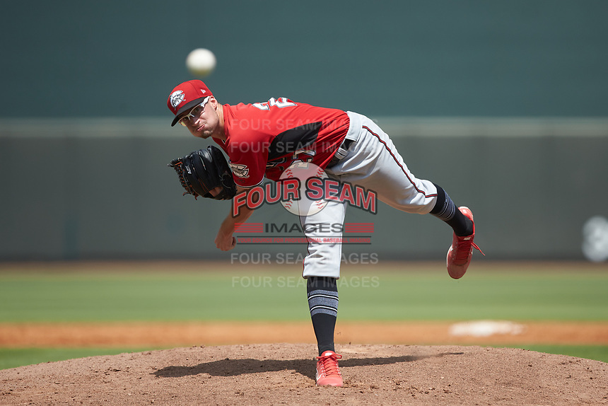 Carolina Mudcats starting pitcher Aaron Ashby (27) delivers a pitch to the plate against the Winston-Salem Dash at BB&T Ballpark on August 4, 2019 in Winston-Salem, North Carolina. The Dash defeated the Mudcats 7-5. (Brian Westerholt/Four Seam Images)
