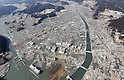 March 13, 2011: Minami Sanrikucho in Miyagi Prefecture was devastated by tsunami which washed away residence.  March 13, 2011, 1:24PM. Photographed  by Junichi Sasaki from a helicopter.(Photo by Mainichi Newspaper / Aflo)