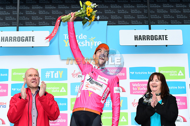 Etienne Van Empel (RNL) wears the climbers pink jersey on the podium at the end of Stage 2 of the Tour de Yorkshire 2017 running 122.5km from Tadcaster to Harrogate, England. 29th April 2017. <br /> Picture: ASO/A.Broadway | Cyclefile<br /> <br /> <br /> All photos usage must carry mandatory copyright credit (&copy; Cyclefile | ASO/A.Broadway)