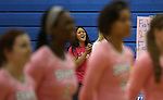 Marymount Assistant Coach Johannah Zabal sings the National Anthem before a college volleyball match against Shenandoah at Marymount University in Arlington, Vir., on Tuesday, Oct. 8, 2013.<br /> Photo by Cathleen Allison