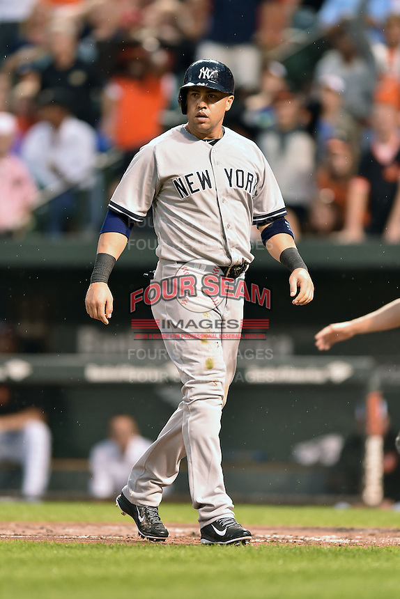 New York Yankees designated hitter Carlos Beltran #36 during a game against the Baltimore Orioles at Oriole Park at Camden Yards August 11, 2014 in Baltimore, Maryland. The Orioles defeated the Yankees 11-3. (Tony Farlow/Four Seam Images)