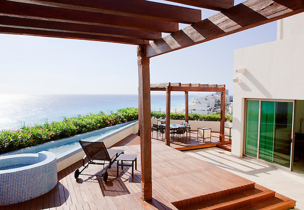 The oceanview terrace of Room 7001, a 2-bedroom Presidential Suite at Live Aqua Resort & Spa in Cancun's Hotel Zone. Cancun, Quintana Roo, Mexico