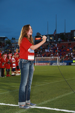 FRISCO, TX - SEPTEMBER 15: The National Anthem prior to the start of the match between the FC Dallas and the Vancouver FC at FC Dallas Stadium on September 15, 2012 in Frisco, Texas. (Photo by Rick Yeatts)