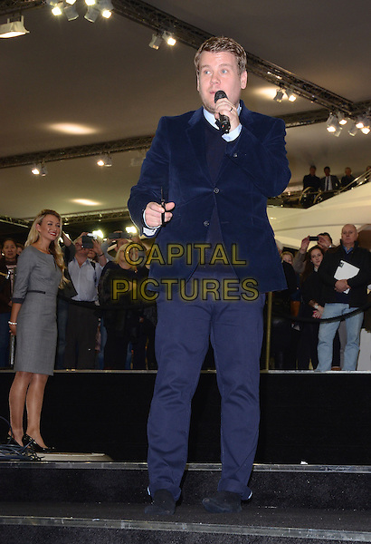 LONDON, ENGLAND - JANUARY 04:  James Corden at the unveiling of the new Sunseeker 75 Yacht as part of the London International Boat Show 2014, Excel London Exhibition Centre, Western Gateway, on Saturday January 04, 2014 in London, England, UK<br /> CAP/BK/PP<br /> &copy;Michael Ball/PP/Capital Pictures