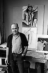 Keith Vaughan (23 August 1912 - 4 November 1977) artist in his south London studio 1968.<br /> <br /> Painting of male nude is in the Tate collection purchased in 1989. Reference T05704