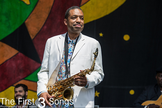 Donald Harrison Jr. performs during the New Orleans Jazz & Heritage Festival in New Orleans, LA.