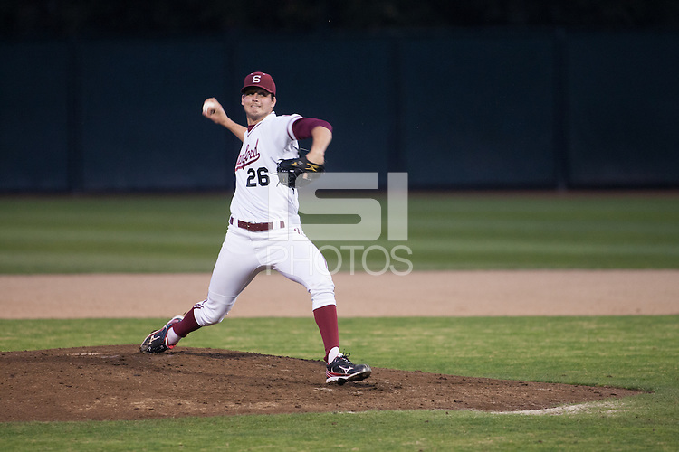 STANFORD, CA -- March 1, 2013: Mark Appel during the Stanford vs. Texas game Friday night at Klein Field at Sunken Diamond on the Stanford Campus.<br /> <br /> Stanford won 2-0.