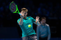 David Goffin of Belgium (7) in action against Rafael Nadal of Spain (1) during their Pete Sampras group match - Goffin def Nadal 7-6, 6-7, 6-4<br /> <br /> Photographer Craig Mercer/CameraSport<br /> <br /> International Tennis - Nitto ATP World Tour Finals - O2 Arena - London - Day 2  - Monday 13th November 2017<br /> <br /> World Copyright &copy; 2017 CameraSport. All rights reserved. 43 Linden Ave. Countesthorpe. Leicester. England. LE8 5PG - Tel: +44 (0) 116 277 4147 - admin@camerasport.com - www.camerasport.com