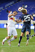 Bryan Gallego (4) of the New York Red Bulls and Russell Canouse (25) of the USA. The USMNT U-17 defeated New York Red Bulls U-18 4-1 during a friendly at Red Bull Arena in Harrison, NJ, on October 09, 2010.