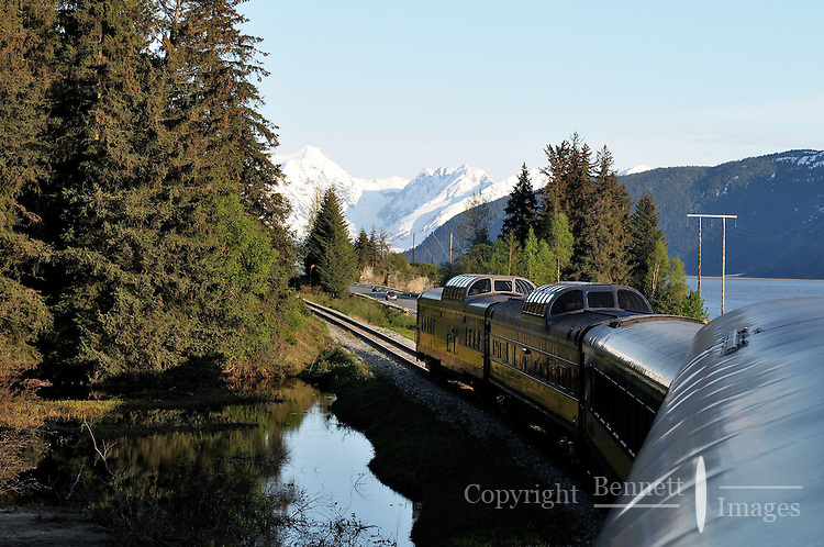 The Alaska Railroad's Coastal Classic train runs through spectacular scenery as it travels along Turnagain Arm.