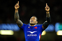 Virimi Vakatawa of France celebrates at full time during the Guinness Six Nations Championship Round 3 match between Wales and France at the Principality Stadium in Cardiff, Wales, UK. Saturday 22 February 2020