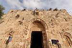 Israel, Jerusalem, Zion Gate located in the south leads to the Jewish and Armenian quarters, built in 1540<br />