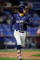 Binghamton Rumble Ponies shortstop Andres Gimenez (2) runs to first base during a game against the Portland Sea Dogs on August 31, 2018 at NYSEG Stadium in Binghamton, New York.  Portland defeated Binghamton 4-1.  (Mike Janes/Four Seam Images)