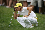 7 September 2008:   Camilo Villegas checks the path of his putt in the fourth and final round of play at the BMW Golf Championship at Bellerive Country Club in Town & Country, Missouri, a suburb of St. Louis, Missouri on Sunday September 7, 2008. The BMW Championship is the third event of the PGA's  Fed Ex Cup Tour.