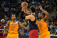 Herbalife Gran Canaria's players Eulis Baez and Richard Hendrix and FC Barcelona Lassa player Ante Tomic during the final of Supercopa of Liga Endesa Madrid. September 24, Spain. 2016. (ALTERPHOTOS/BorjaB.Hojas) NORTEPHOTO.COM