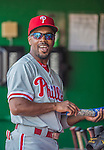 15 September 2013: Philadelphia Phillies shortstop Jimmy Rollins stands in the dugout prior to facing the Washington Nationals at Nationals Park in Washington, DC. The Nationals took the rubber match of their 3-game series 11-2 to keep Washington's wildcard hopes alive. Mandatory Credit: Ed Wolfstein Photo *** RAW (NEF) Image File Available ***