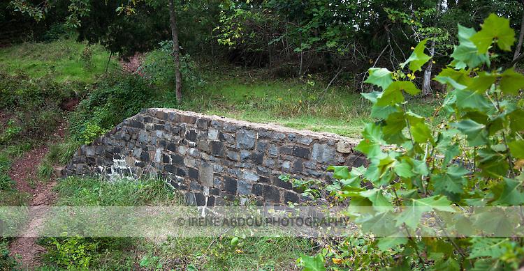 Stone wall next to the stone bridge at Manassas National Battlefield Park in Virginia.