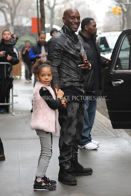WWW.ACEPIXS.COM<br /> March 26, 2015 New York City<br /> <br /> Shayla Somer Gibson and Tyrese Gibson leave a taping of an appearance on 'The View' on March 26, 2015 in New York City.<br /> <br /> Please byline: Kristin Callahan/AcePictures<br /> <br /> ACEPIXS.COM<br /> <br /> Tel: (646) 769 0430<br /> e-mail: info@acepixs.com<br /> web: http://www.acepixs.com